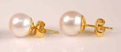 Lot 3093 - A pair of yellow metal and Japanese pearl ear...