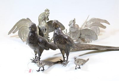 Lot 3 - A pair of 20th century plated table pheasants,...