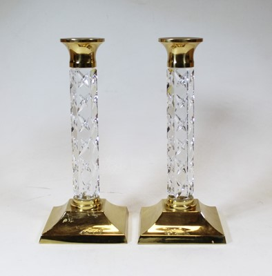 Lot 5 - A pair of 20th century brass and Waterford...