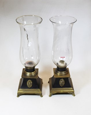 Lot 14 - A pair of 20th century brass and glass storm...