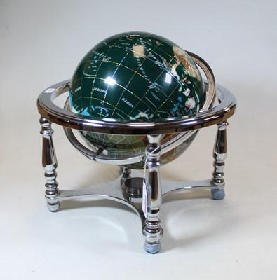 Lot 18 - A 20th century specimen hardstone globe,...