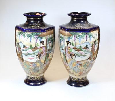 Lot 23 - A pair of 20th century Japanese satsuma vases,...