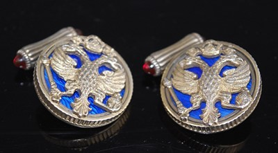 Lot A pair of gilt metal Russian style cufflinks,...