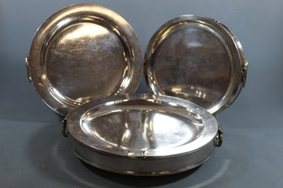 Lot 15 - A late Victorian silver plated warming dish,...