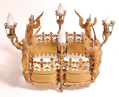 Lot A 19th century Gothic cut brass and gilt metal...