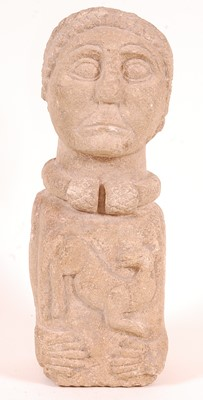 Lot A Celtic stone bust, the face carved with...