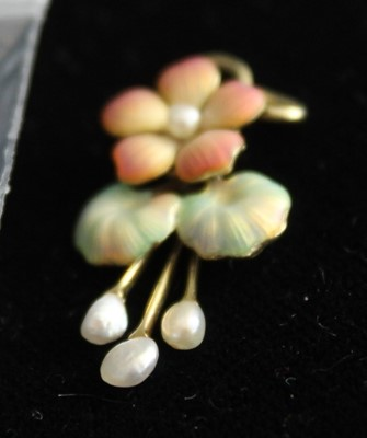 Lot 364 - A yellow metal, finely enamelled and seed...
