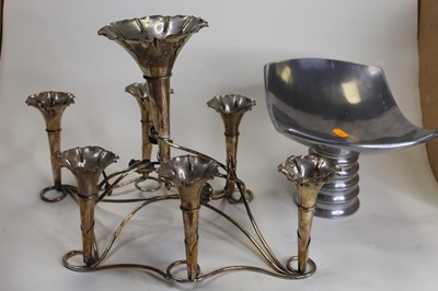 Lot 7 - A silver plated seven trumpet table epergne,...