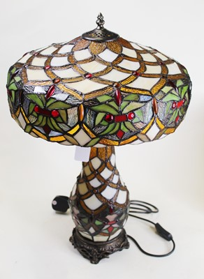 Lot 13 - A modern Tiffany style glass table lamp, h.57cm