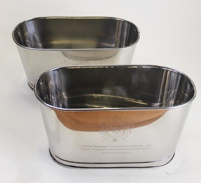 Lot 22 - A pair of modern plated wine coolers,...