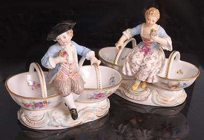 Lot 1018 - A pair of Meissen porcelain table salts,...