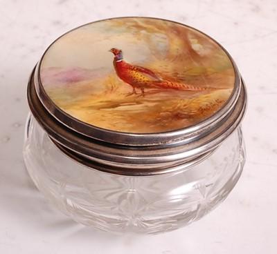 Lot 1022 - A porcelain topped cut glass powder bowl, the...