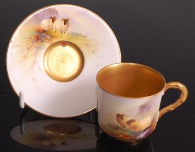 Lot 1023 - A Royal Worcester porcelain miniature cabinet...