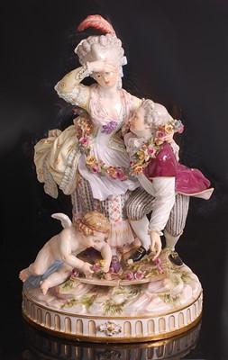 Lot 1016 - A 19th century Meissen porcelain figure group '...
