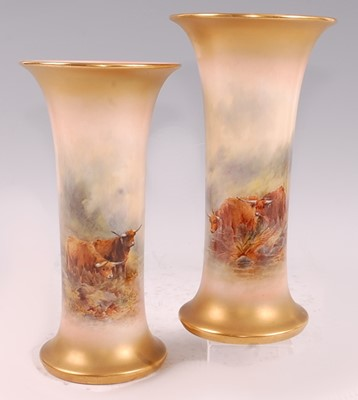 Lot 1026 - A pair of Royal Worcester trumpet vases...