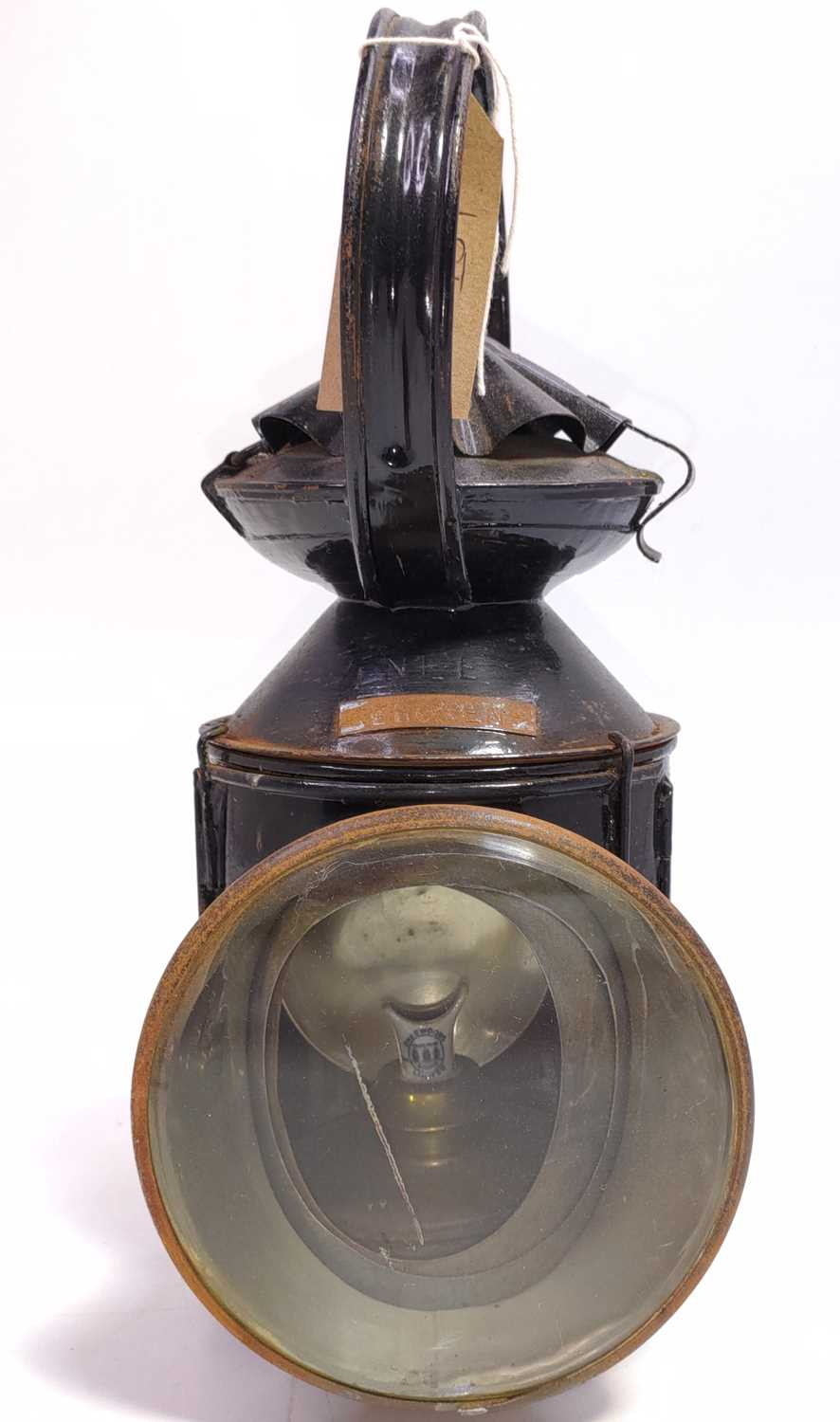 Lot 12 - An early LNE marked Pie crust hand lamp,...