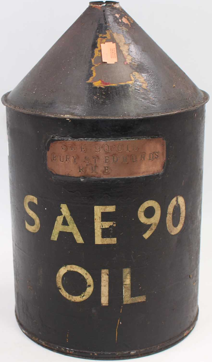 Lot 14 - Large oil can stamped to reducing cone BRE and...