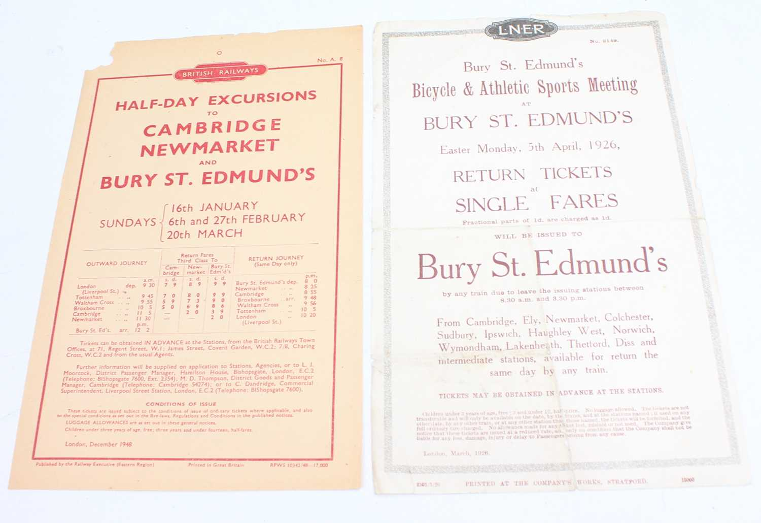 Lot 19 - An LNER 1926 Bury St Edmunds Bicycle and...