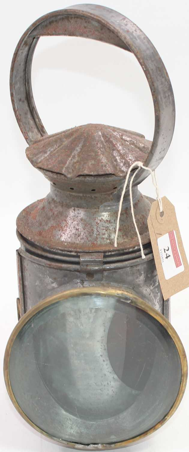 Lot 24 - An early pie crust LNER two-aspect hand lamp...