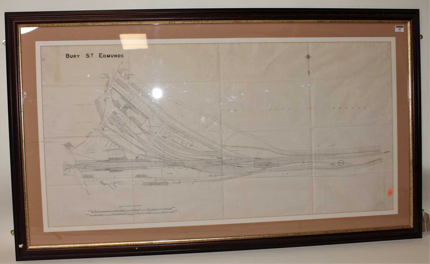 Lot 35 - A very large framed and glazed line drawing...