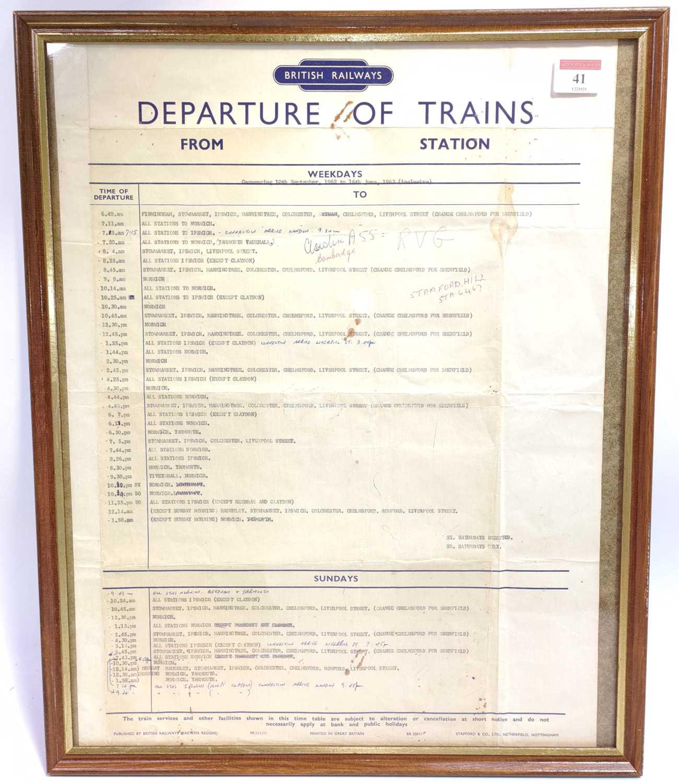 Lot 41 - Original British Railway BR timetable for...