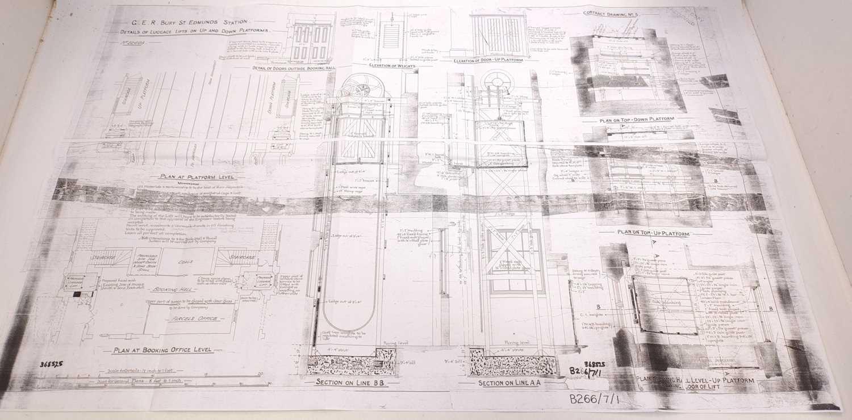Lot 42 - Photocopy of Bury St Edmunds station plans 1882