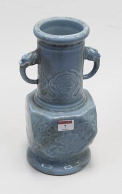 Lot 7 - A Chinese export blue glazed stoneware vase,...