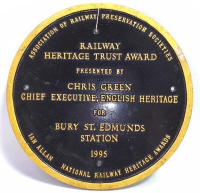Lot 47 - A cast metal Railway Heritage Trust Award for...