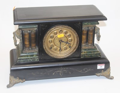 Lot 10 - A late 19th century faux black slate and...