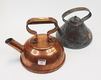 Lot 13 - An early 20th century copper kettle of conical...