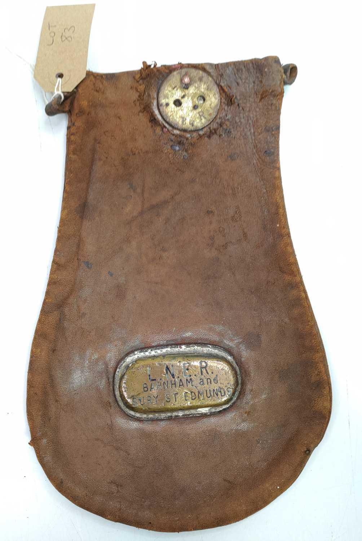Lot 52 - Original LNER wages or cash bag, brass plated...