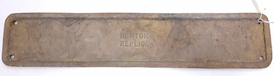"""Lot 55 - Reproduction full-size brass nameplate """"Marne"""",..."""