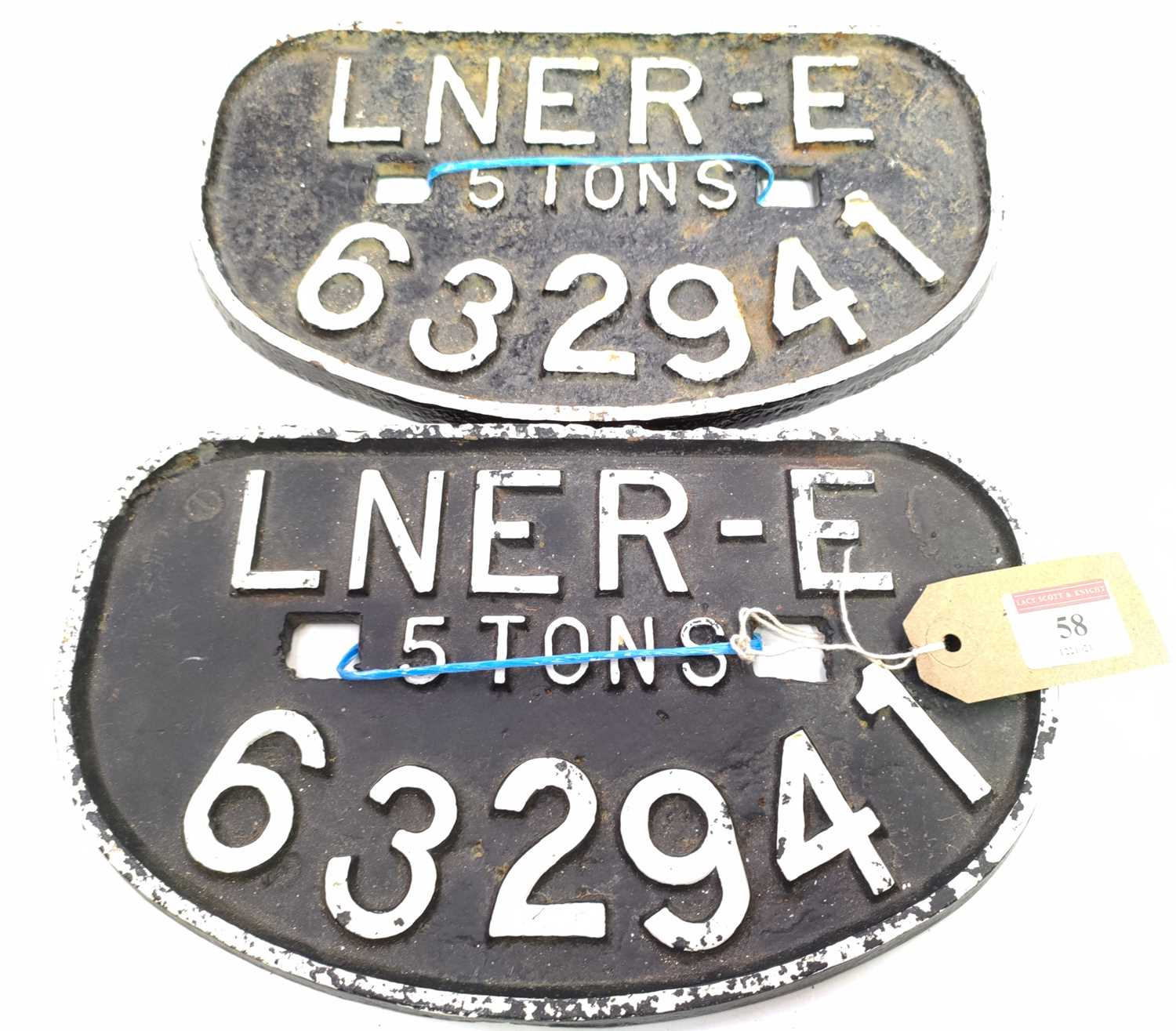 Lot 58 - A pair of cast iron 5 Ton wagon plates, both...