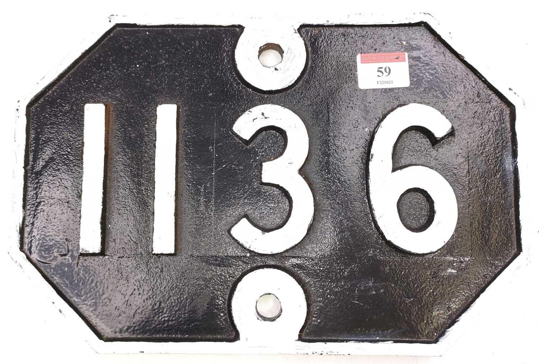 Lot 59 - A Great Eastern Railway cast iron bridge plate,...