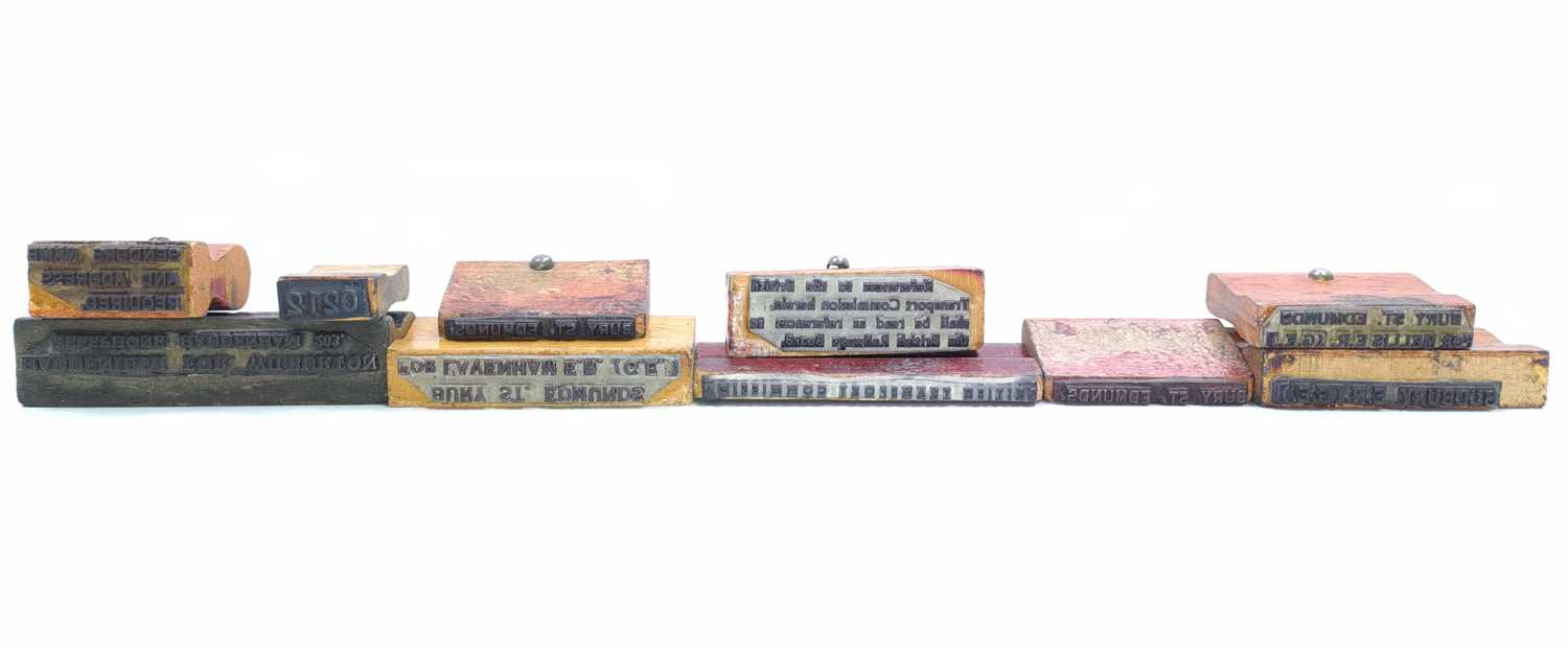 Lot 76 - 10 various wooden stamps from Bury St Edmunds...