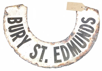 Lot 83 - Original enamel lamp horseshoe sign, black...