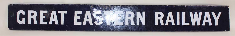 Lot 88 - A quad royal enamel post header sign, white on...