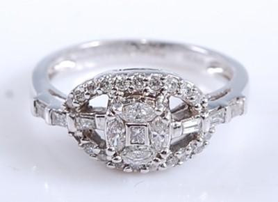 Lot A white metal diamond lozenge shaped cluster...
