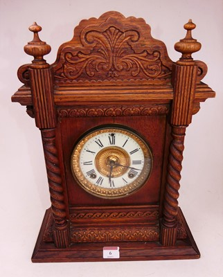 Lot 6 - An early 20th century oak cased eight-day...