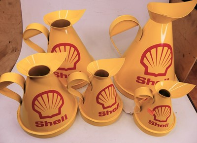Lot 8 - A set of five Shell Petroleum graduated oil...