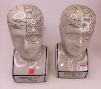 Lot 18 - A pair of reproduction pottery phrenology...