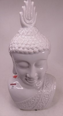 Lot 21 - A 20th century white glazed pottery head and...