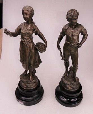 Lot 23 - A pair of 19th century style spelter figures...