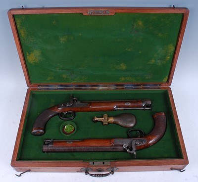 Lot A cased pair of English percussion pistols by...