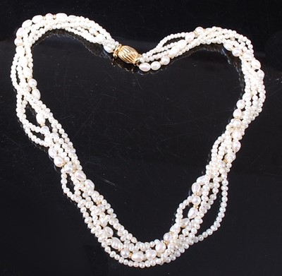 Lot A five-strand twist freshwater pearl necklace,...