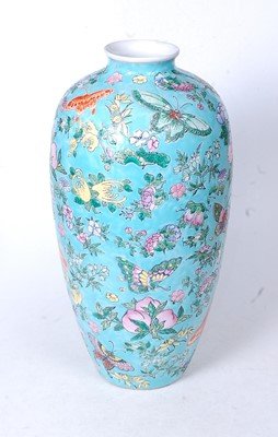 Lot 2 - A Chinese export Meiping vase, on a turquoise...