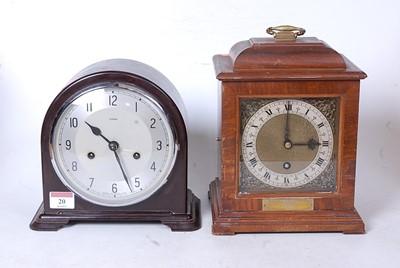 Lot 20 - A mid-20th century walnut cased mantel clock,...