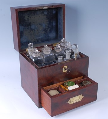 Lot An Edwardian mahogany and brass inset medical...