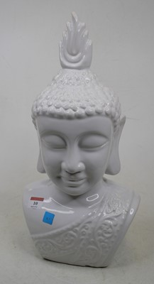 Lot 10 - A modern white glazed pottery head and...