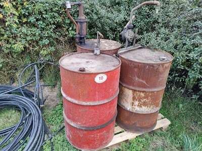 Lot 10 - 3 x Oil Barrels with Pumps